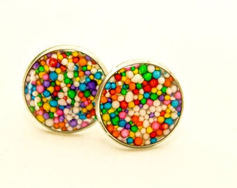 Antiallergic with little multicolored sweets and 16 mm resin Stud Earrings