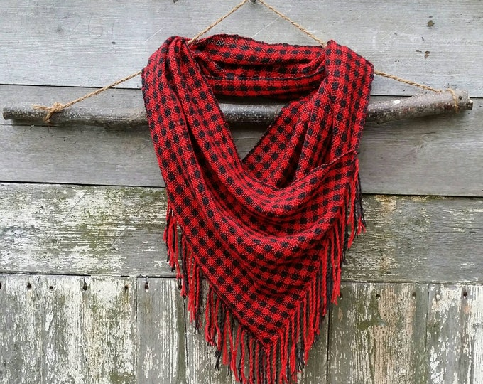 The Shepherd's Fringed Cowl- Red and Black Plaid