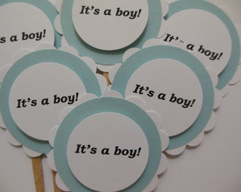 Its A Boy Cupcake Toppers - Blue and White - Boy Baby Shower Decorations - Gender Reveal Party - Set of 6