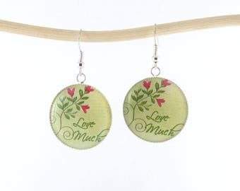 Silver earrings * Love Much * resin Cabochons