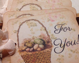 Gift Tags For You Easter Basket and Eggs Gift Tags Easter SpringTime Set of 4