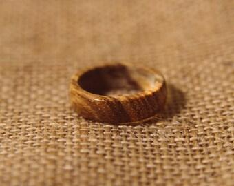 Hand made zebra wood ring for men and women