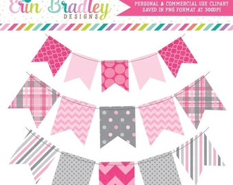 80% OFF SALE Pink and Gray Bunting Clip Art Commercial Use Clipart Graphics