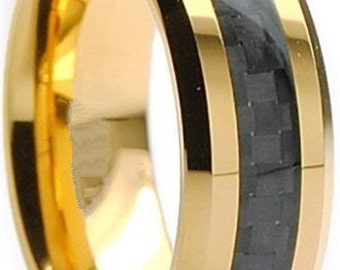 Tungsten Ring Gold Plated Tungsten with Carbon Fiber Inlay