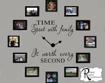 Time Spent with Family Decal #4 - Time Spent with Family Clock Decal #4- Family Clock Decal- Time Spent with Family Wall Decal