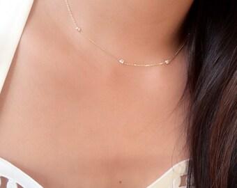 Dainty diamonds by the yard choker necklace / cz choker necklace / minimalist choker 14k gold / station necklace / diamond station necklace