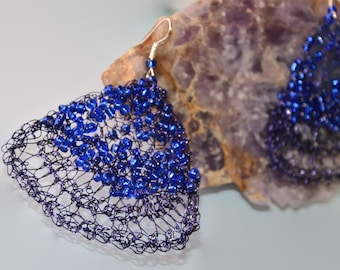 Large violet earrings with blue beads, tribal jewelry, dangle earrings, wire crochet violet earrings, large earrings light to wear