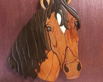 Buckskin Horse wall plaque done in Intarsia