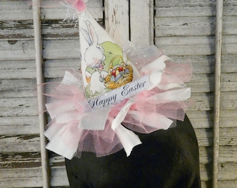 Happy Easter white bunny fascinator HAT party - egg banner wool adult woman fun fabric banner mini head piece barrette