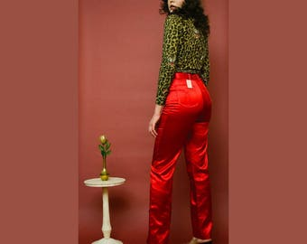 vintage 1970s Time and Place deadstock red satin acetate disco pants