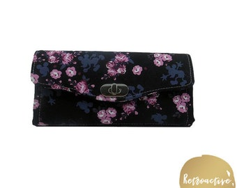 Mickey Mouse Accordion Style Wallet - Mickey Mouse & Cherry Blossoms Wallet - Handmade NCW - Necessary Clutch Wallet - Custom Made Wallet