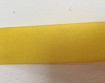 yellow striped cotton Ribbon width 2.5 cm