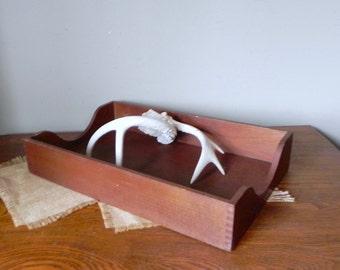 Large wood tray desk organization organizing display dovetail dovetailed