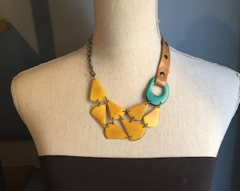 Yellow seafoam leather necklace