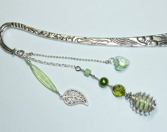"Large bookmark silver jewelry ""nature"" beads"