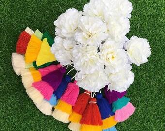 Handmade bag Charm, Party tassel, Bridesmaid Gift, Three Colour layer charm, Gatsby Style, bag accessory, soft tassel, girl gift, KC006