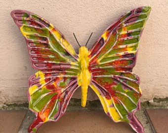 French BUTTERFLY WALL DECORATIVE provence moustier handmade 3