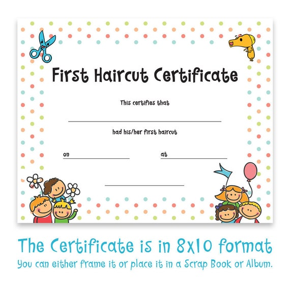 Haircut Certificate First Haircut Certificate Christmas Gift