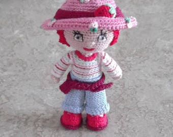 Bonnie's OOAK Crochet Cotton Thread Item Red Haired  mini Doll/ collectible, not a toy