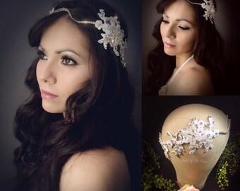 Ivory flower crown, gold leaf bridal crown, crystal crown, goddess crown, gold bridal crown, medieval crown, crystal crown, ivory headpiece