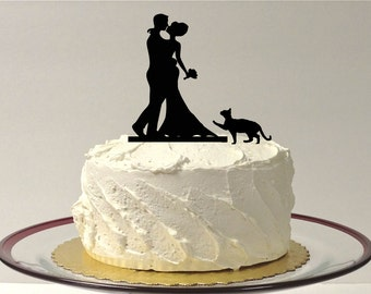 MADE In USA, Cat + Bride & Groom Silhouette Wedding Cake Topper With Pet Cat Family of 3 Silhouette Wedding Cake Topper Bride and Groom