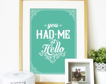 You Had me at Hello line from Jerry Maguire movie end scene love scene Love Poster art print typography Movie Poster Jerry Maguire Poster