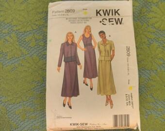 Womens Misses DRESSES, DRESS, & Jacket, By Kerstin Martensson... Sz xs- s-m-L-XL-...Uncut  Kwik Sew 2809 Sewing Pattern
