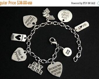 MOTHERS DAY SALE Gay Pride Bracelet.  Lgbtq Charm Bracelet. Queer Bracelet. Lgbt Bracelet. Silver Bracelet. Lgbtq Jewelry. Gay Jewelry. Hand