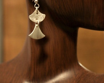 Sterling Silver Stacked Fan Shape earrings with Hammer texture and Brushed Metal Textures