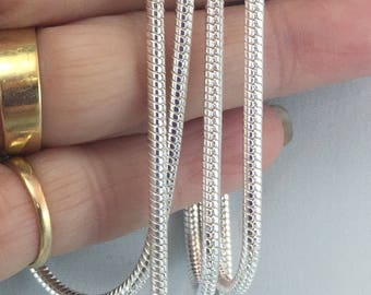 """28"""" sterling silver chain, 2.5 mm sterling snake chain, pendant holder, sterling silver necklace,  Julie VanEmber, jewelry supply"""