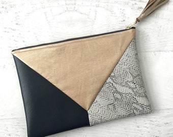 Geometric Rose Gold, Navy & Snakeskin Faux Leather Clutch - Gift for her, Birthday, Anniversary, Bridesmaid