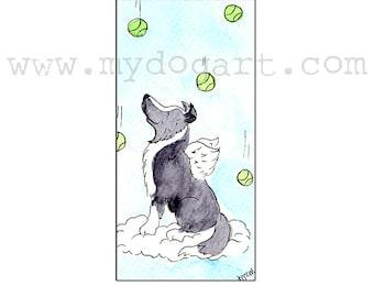 Whimsical Border Collie Angel print 5x7