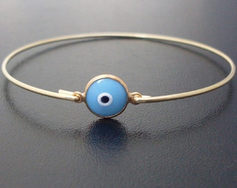 All Seeing Eye Bracelet, Evil Eye Bangle, Protective Eye Bracelet, Gold Tone Socket, Glass Bangle, 3rd Eye Jewelry, 3rd Eye Bracelet