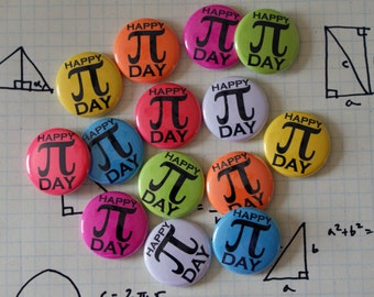 "Pi Day Colorful Nerdy Geeky Math 1"" Pinback Button 