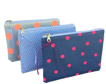 Set of ANY 3 PURSES - Choose any 3 pouches of your choice! -Bridesmaid Gifts,  Zipper Pouch, Makeup bag, Cosmetic Pouch, Zippered Pouch