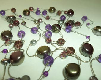 Amber, Gray Purple floating Lucite beaded Opera length Necklace