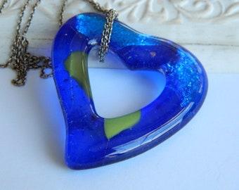 Fused Glass Heart Blue Green Open Heart Pendant Necklace