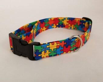 Rainbow Puzzles Dog Collar