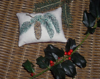 Handpainted Spruce with Cone Balsam Fir Pillow One-of-a-Kind Great Wedding Favors