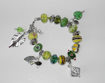 Green lampwork charm leather bracelet (#303)