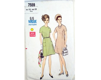 """Vintage 1960s Vogue 7559 Mod Semi-fitted, Slightly A-line Short Sleeve Dress Sewing pattern Size Bust 39"""" UK 16"""