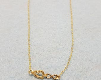 Zirconia diamond whimsy heart & infinity necklace, 18k gold filled chain, 18k rose gold filled charm