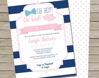 Tutus and Ties Baby Shower Invitation - PRINTABLE Boy and Girl Twins Baby Shower Invite