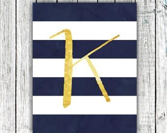 Nursery Art Monogram, New Baby, Gold, Navy, Stripes, Personalized, Digital Download Size 8x10 #10
