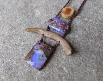 Boulder opal, wood necklace - tribal natural macrame adjustable length - purple brown opal jewellery
