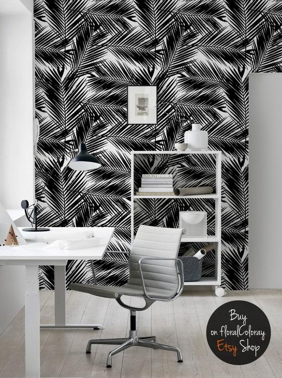 Feuilles de palmier foncé papier peint Noir et blanc