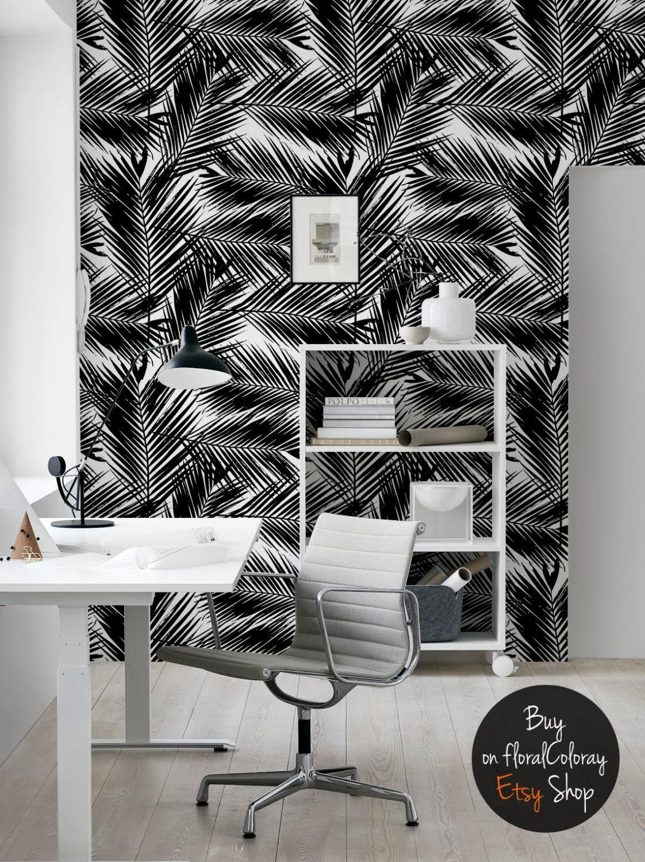 feuilles de palmier fonc papier peint noir et blanc. Black Bedroom Furniture Sets. Home Design Ideas