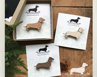 Doxie. Brooch -- (Dachshund, Long Dog, Dog Pin, Vintage-Style, Sausage Dog, Wiener Dog, Wood, Mother's Day Gift, Year of the Dog, Under 10)
