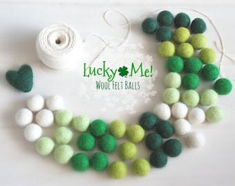 Lucky Me Felt Balls  - 100% Wool Felt Balls - 50 Wool Felt Balls - St. Patrick's Day Garland - Irish Colors - St. Patrick's Felt balls - Fun