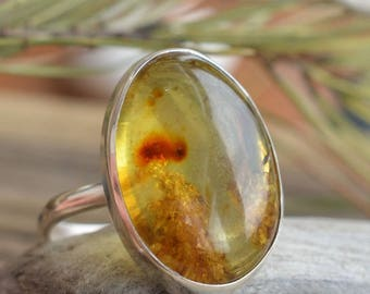 Georgeous Ring With Colombian Amber! Ring With Natural Rare Stone. Sterling silver, Amber. Gemstones jewelry. Gift Idea. Present for her.